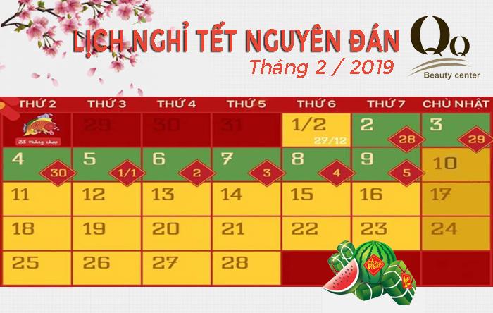 Lịch nghỉ tết Kỷ Hợi 2019 tại thẩm mỹ viện Thanh Quỳnh